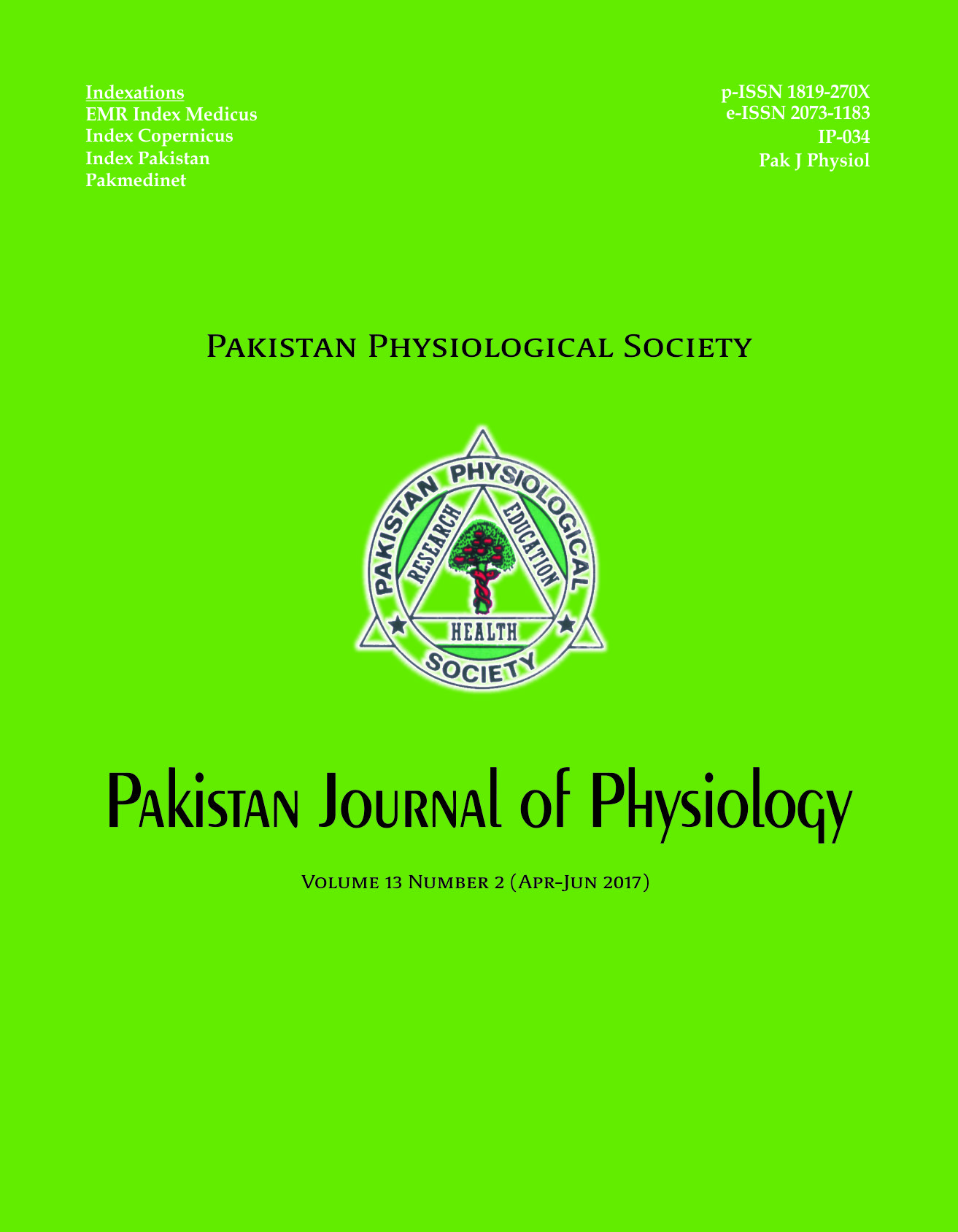 Title Pak J Physiol 2017;13(2)