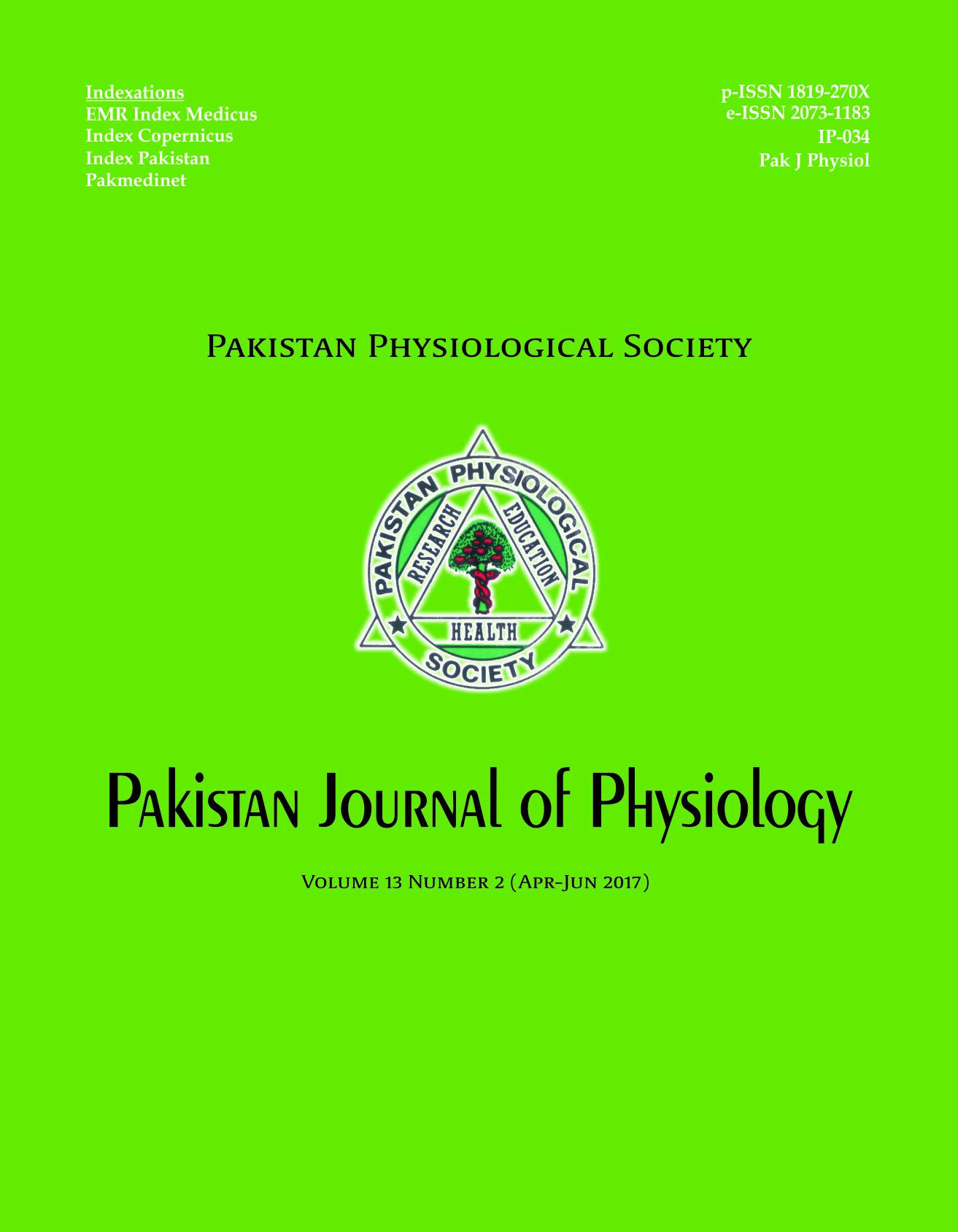 Pak J Physiol 2017;13(2)
