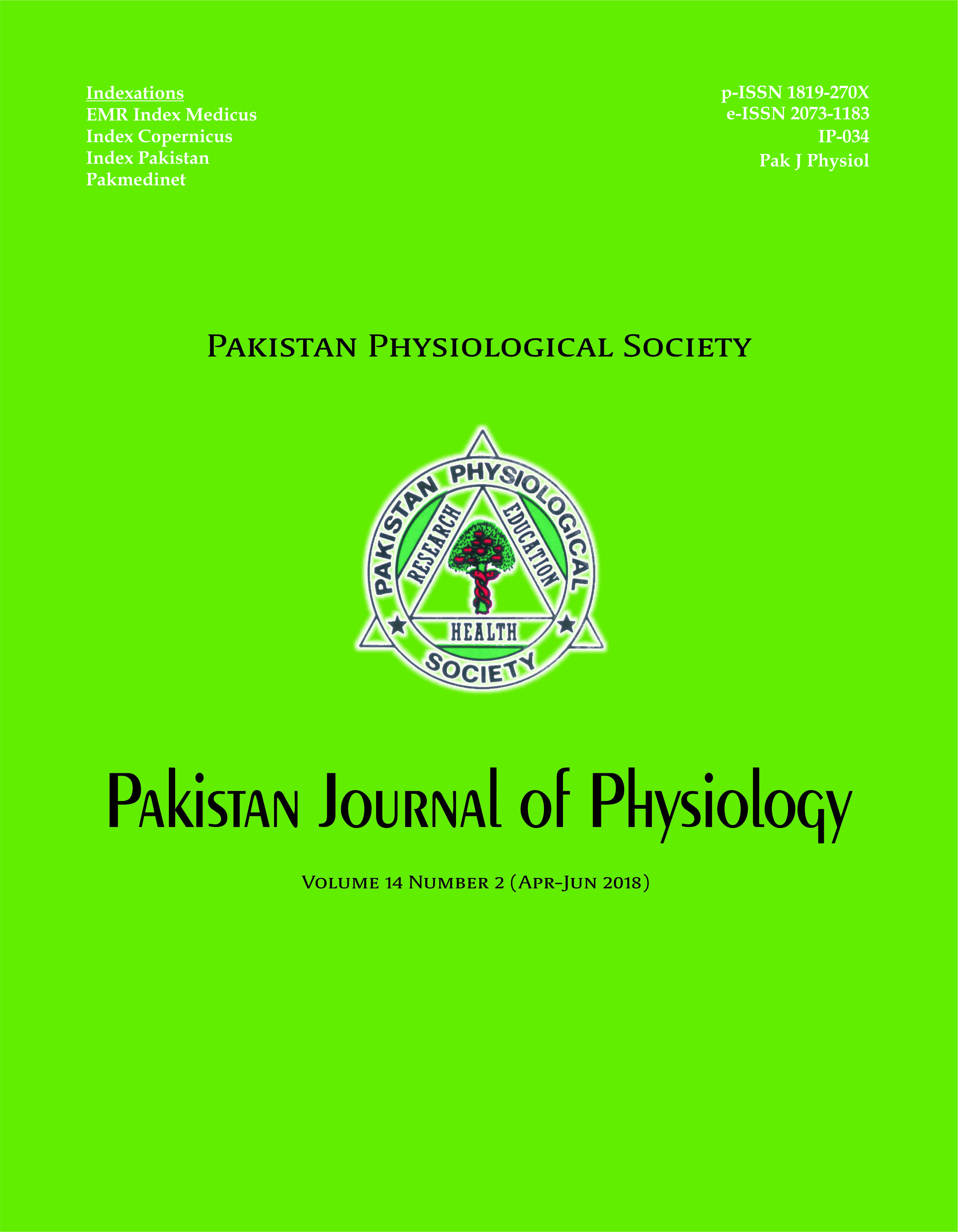 Pak J Physiol 2018;14(2)